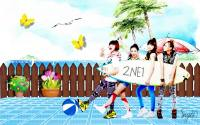 :: 2NE1 : In Front Of Beach Painting ::