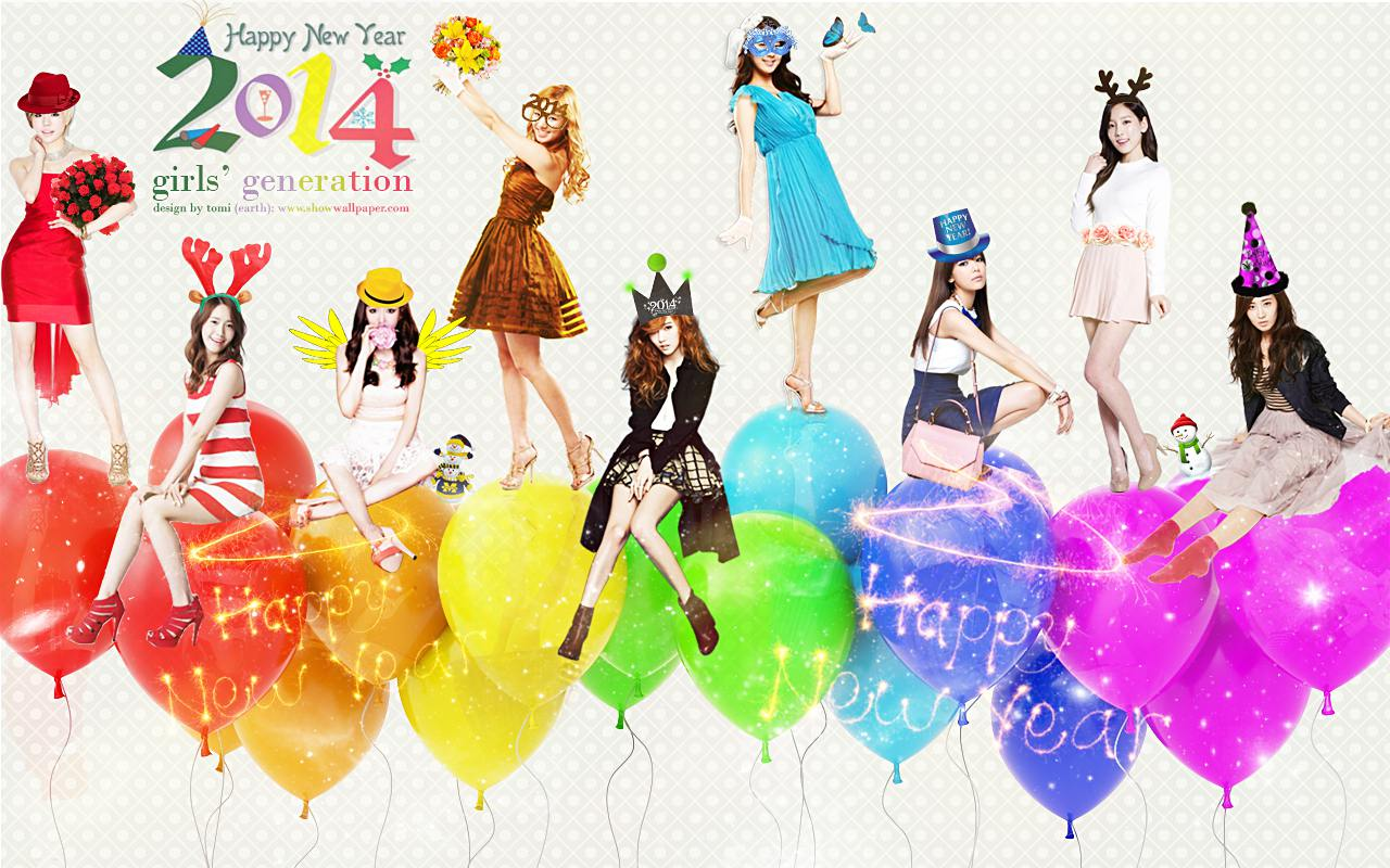 snsd happy new year 2014 wallpaper by tomi