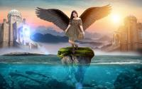 Dark angel on the floating island.